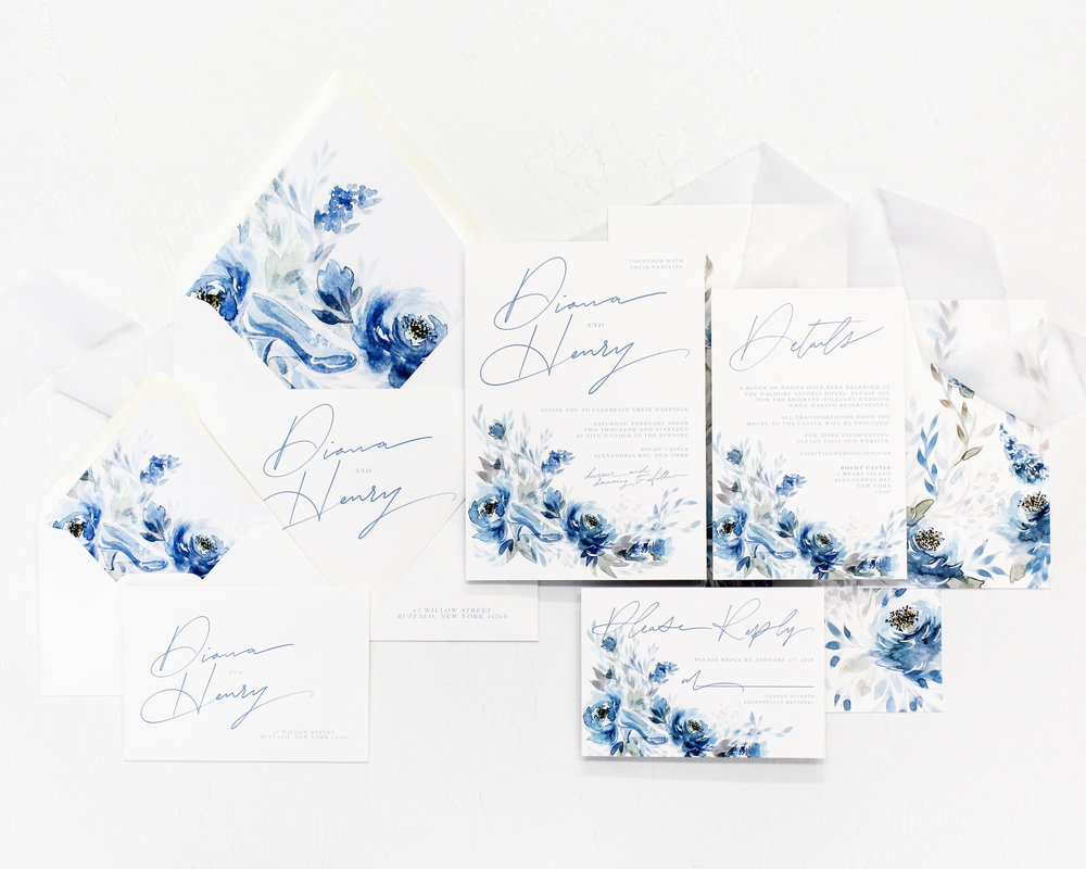 Cinderella - Having a happily ever after themed wedding? Look no further for your perfect stationery. This suite features a 'handwritten' calligraphy script and gorgeous watercolor florals incorporating a glass slipper for that elegant touch of fandom.