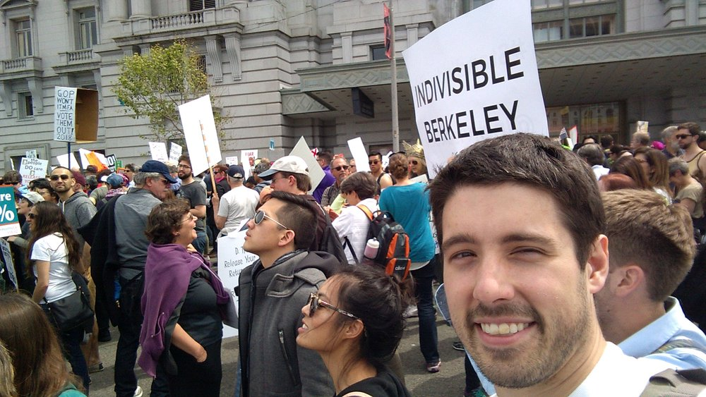Steering Team member Brandon Curtis at the SF Tax March.