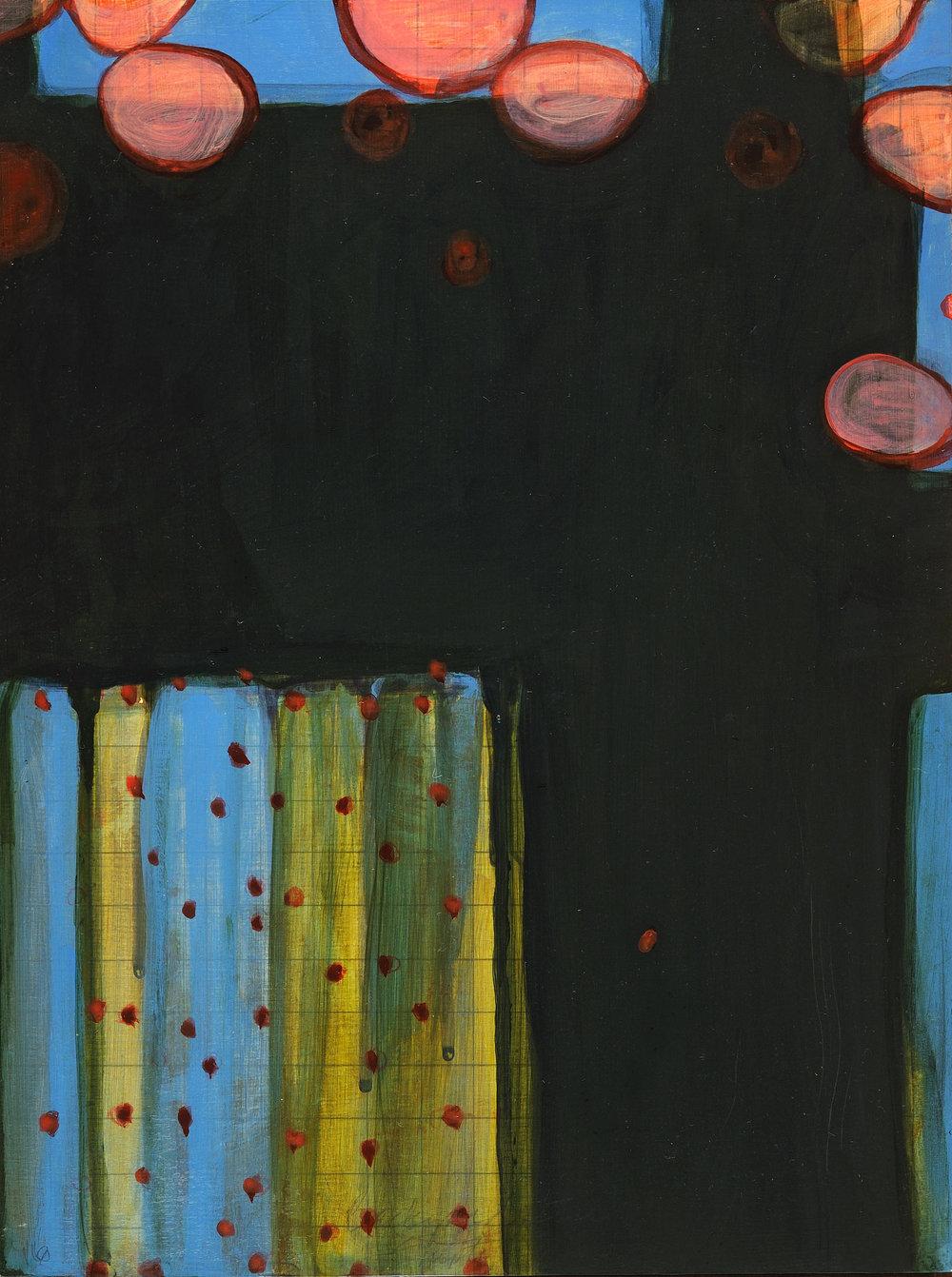 """Backyard Study: Empty Garden"" 9X12, acrylic, graphite on wood, 2016 SOLD"