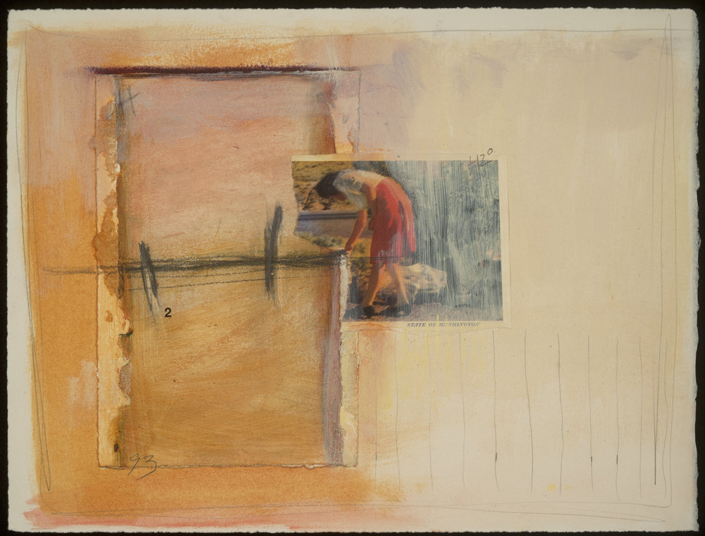 """Untitled: #12"" collage, graphite, watercolor on paper, by Kimberley Bursic"