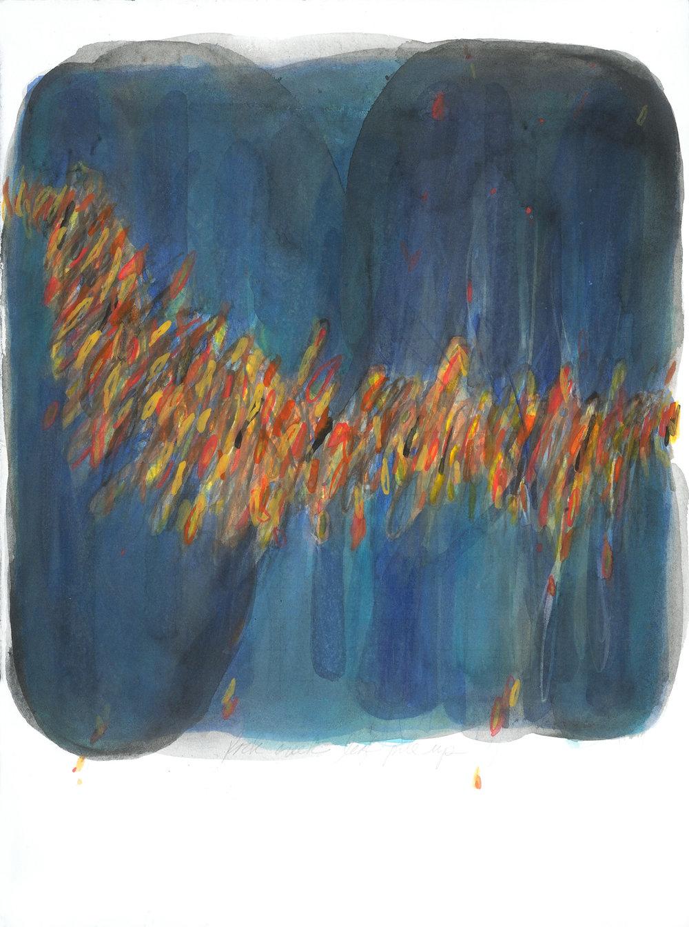 """Rock Creek Leaf Pile Up"" 11X15, watercolor 2017"