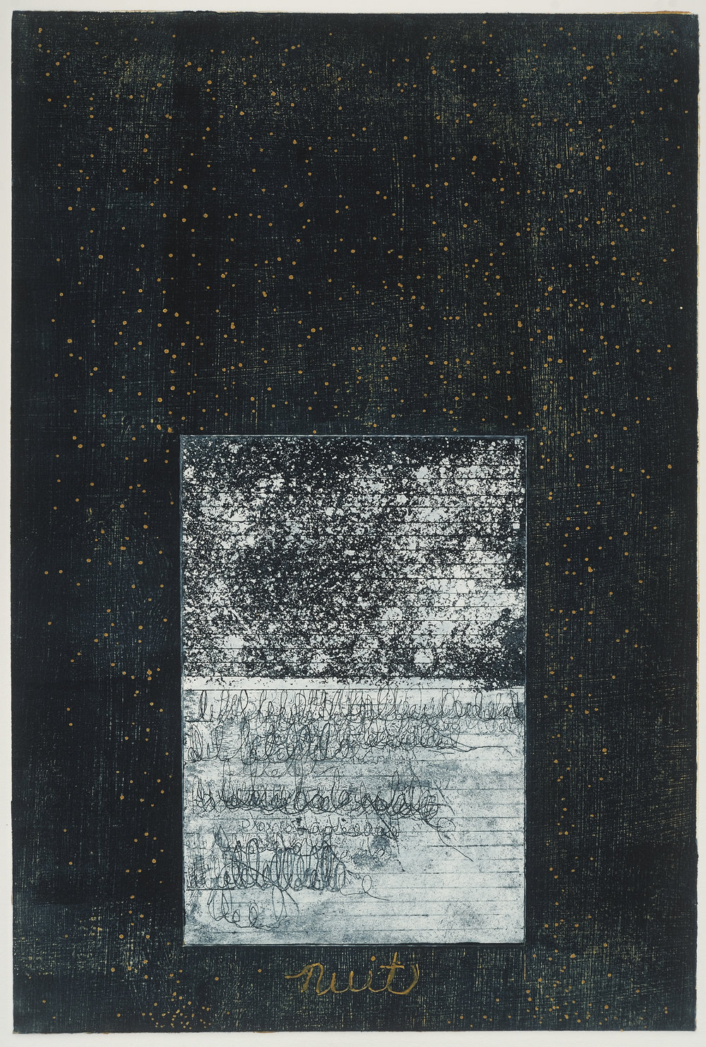 """""""Nuit #1"""" etching, collograph, 19X26, 2017"""