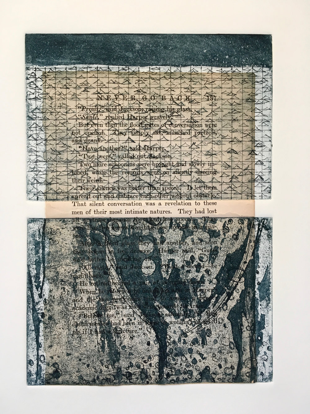 """""""Never Go Back,"""" 14X18, etching, chine colle', 2017"""