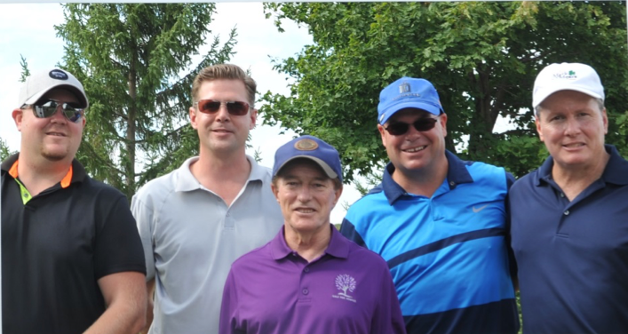 Andrew Warren, David Rivett, Brian Stephen and Gord Anderson with Sandy Hawley