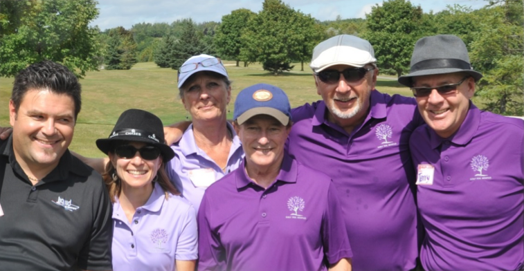 DJ Patryk Wasiak, Kim Kirkup, Barb Turner, Dave Turner & Tournament Organizer Terry Kirkup with Sandy Hawley