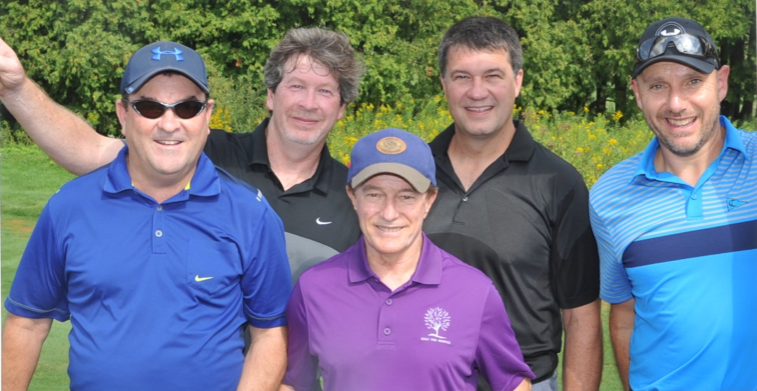 Jerry Arsenault, Scott Sawyer, Carl Schnalzer and Paul Bird with Sandy Hawley