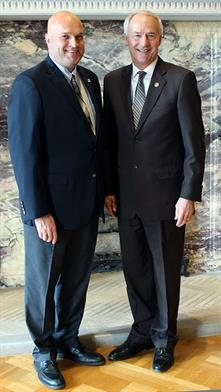 Chief Kirk Lane and Governor Asa Hutchinson