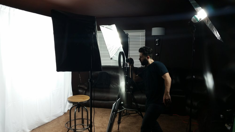 A few final touches on the pop-up studio, and we're ready to shoot!