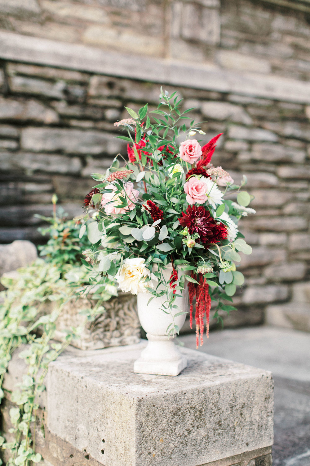 These tall ceramic urns make the perfect statement altar pieces to be used up front or just to bring color to the surrounding venue.