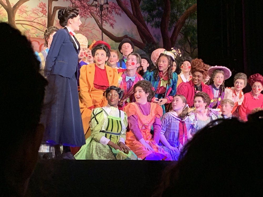 The incredible cast of Mary Poppins! Check out those COSTUMES.