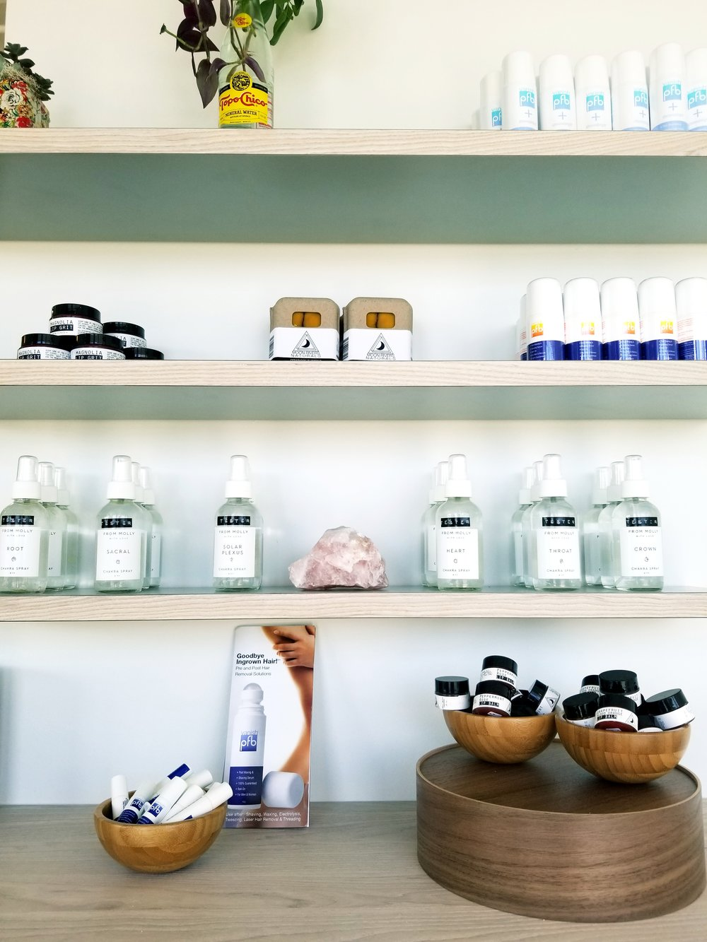 Interior of the chic space at Wax That, natural products and items for self-care