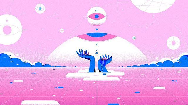 ☁️☁️☁️ . . . . . . . . #illustration #styleframe #motiongraphics #artist #illustrationdaily #illustrationartists #digitalart #photoshop #pink #blue #island #fun #creative