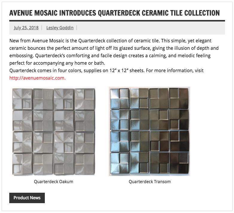 Tileletter Introducing Quarterdeck Ceramic Tile Collection Avenue