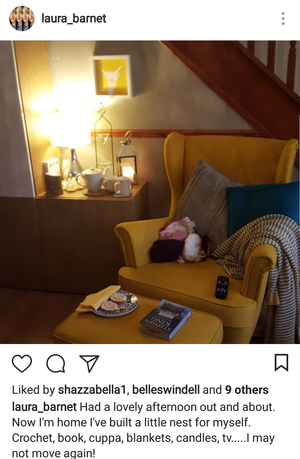 """woman's instagram post of her """"nest"""" she's built to relax in for the evening"""