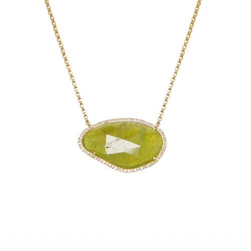 Green sapphire slide and diamond necklace ri noor green sapphire slide and diamond necklace aloadofball Choice Image