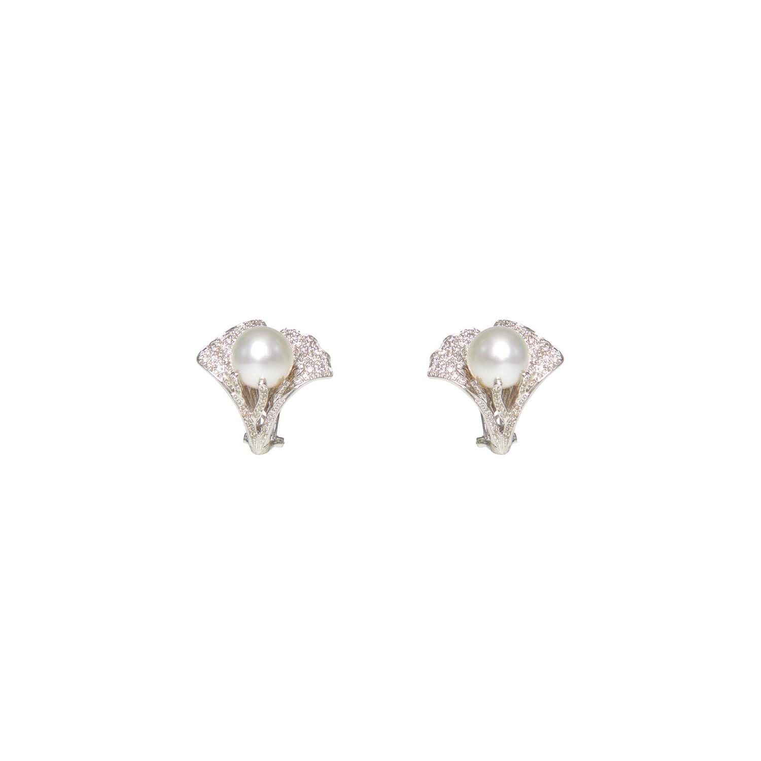 Pearl And Diamond Flower Earrings Ri Noor