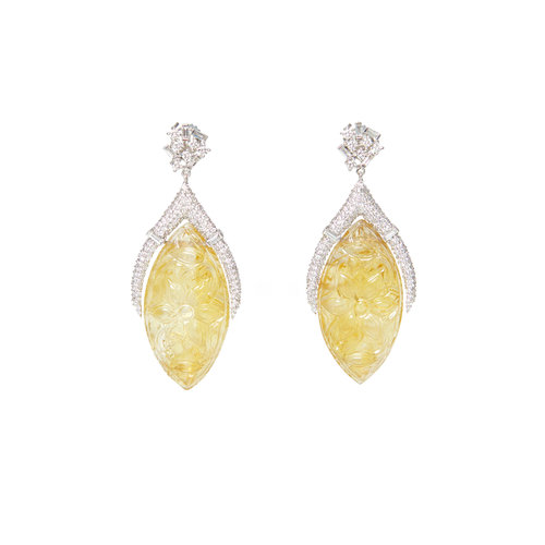 carved citrine earrings ri noor