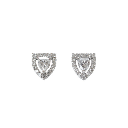 pid cut platinum tw cushion g stud diamond prong earrings ct h basket certified
