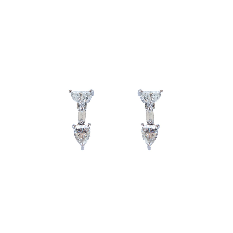 Fancy Half Moon Diamond Dangler Earrings Ri Noor
