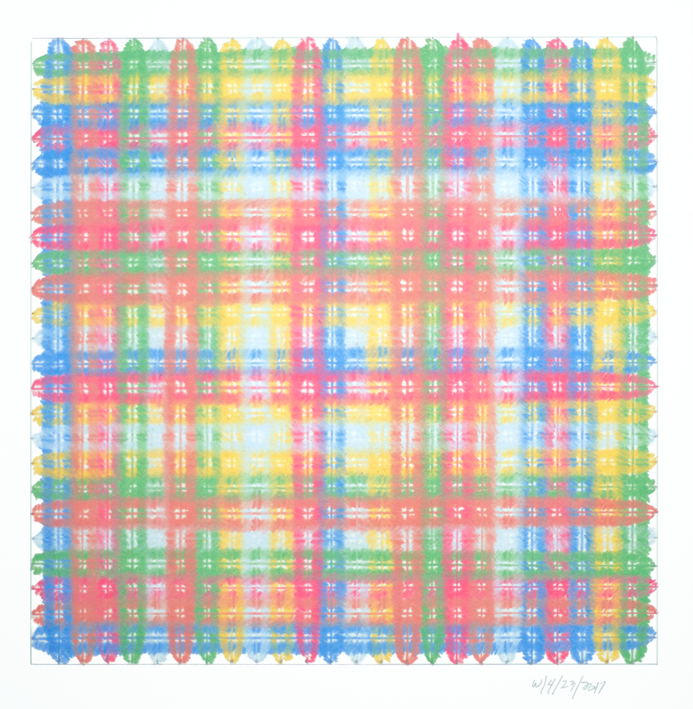 "Eccentric Square 18, 14""x14"", colored pencil on paper, 2017"