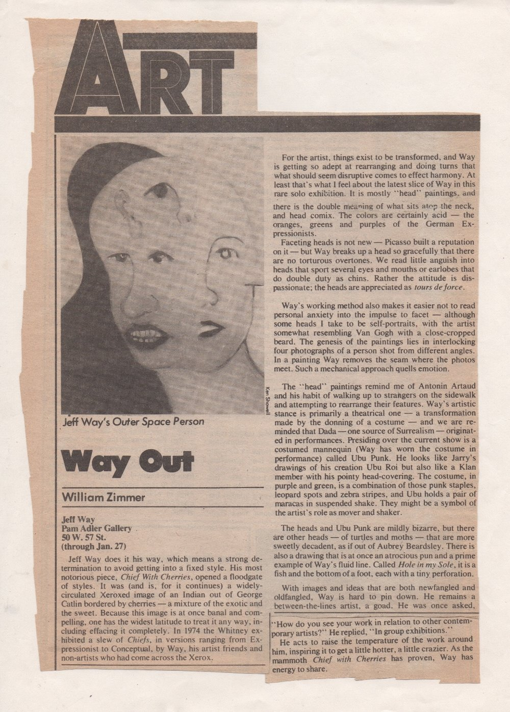 Way Out, Zimmer Williams, Soho Weekly News 1976