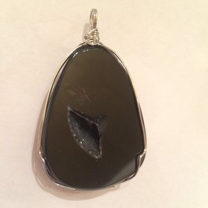 Handwired Black Agate Pendant SQ100 2.5x2 $75.00