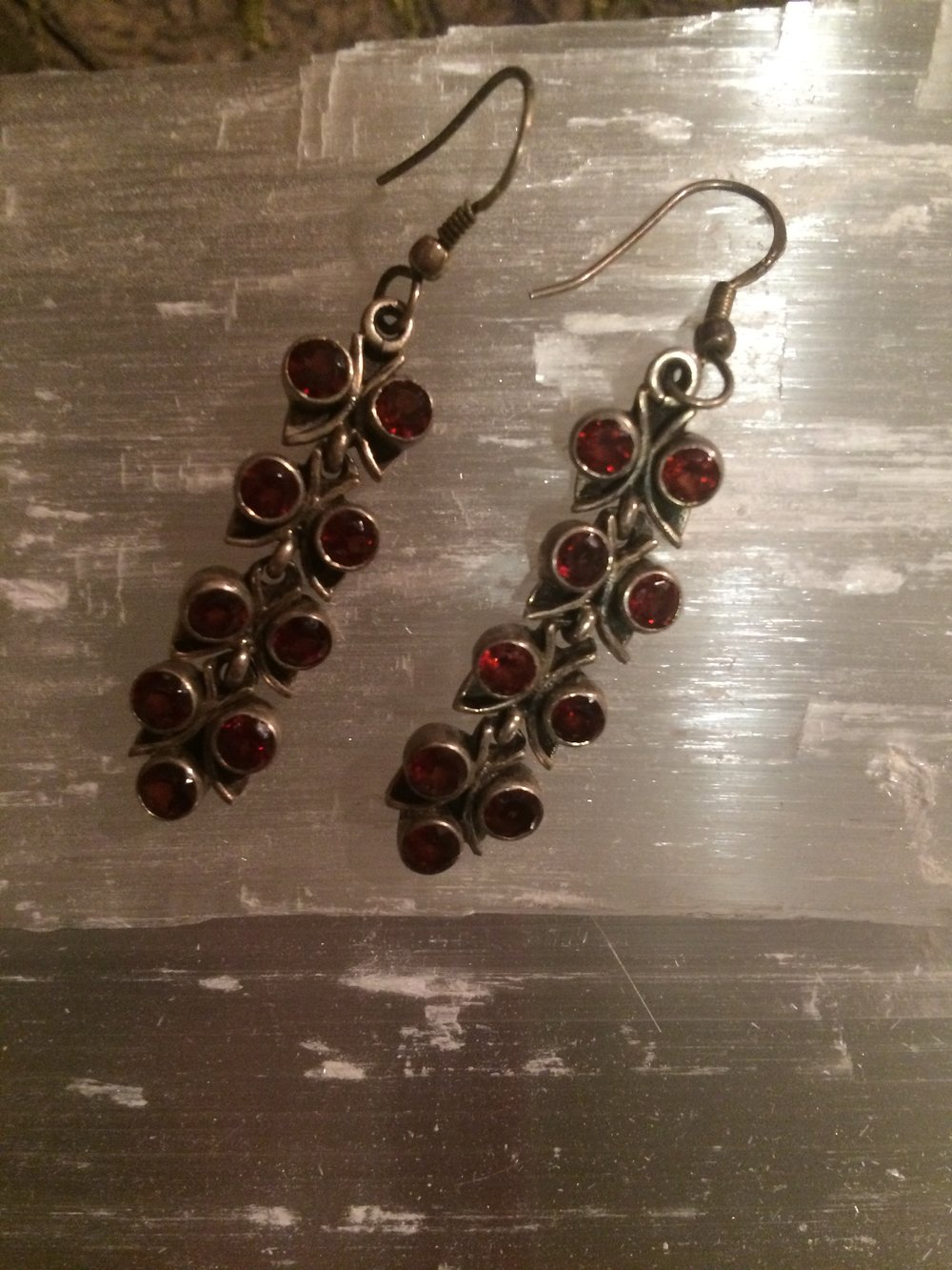 Garnet Earrings from Indonesia SQ105 2x.25 $30.00