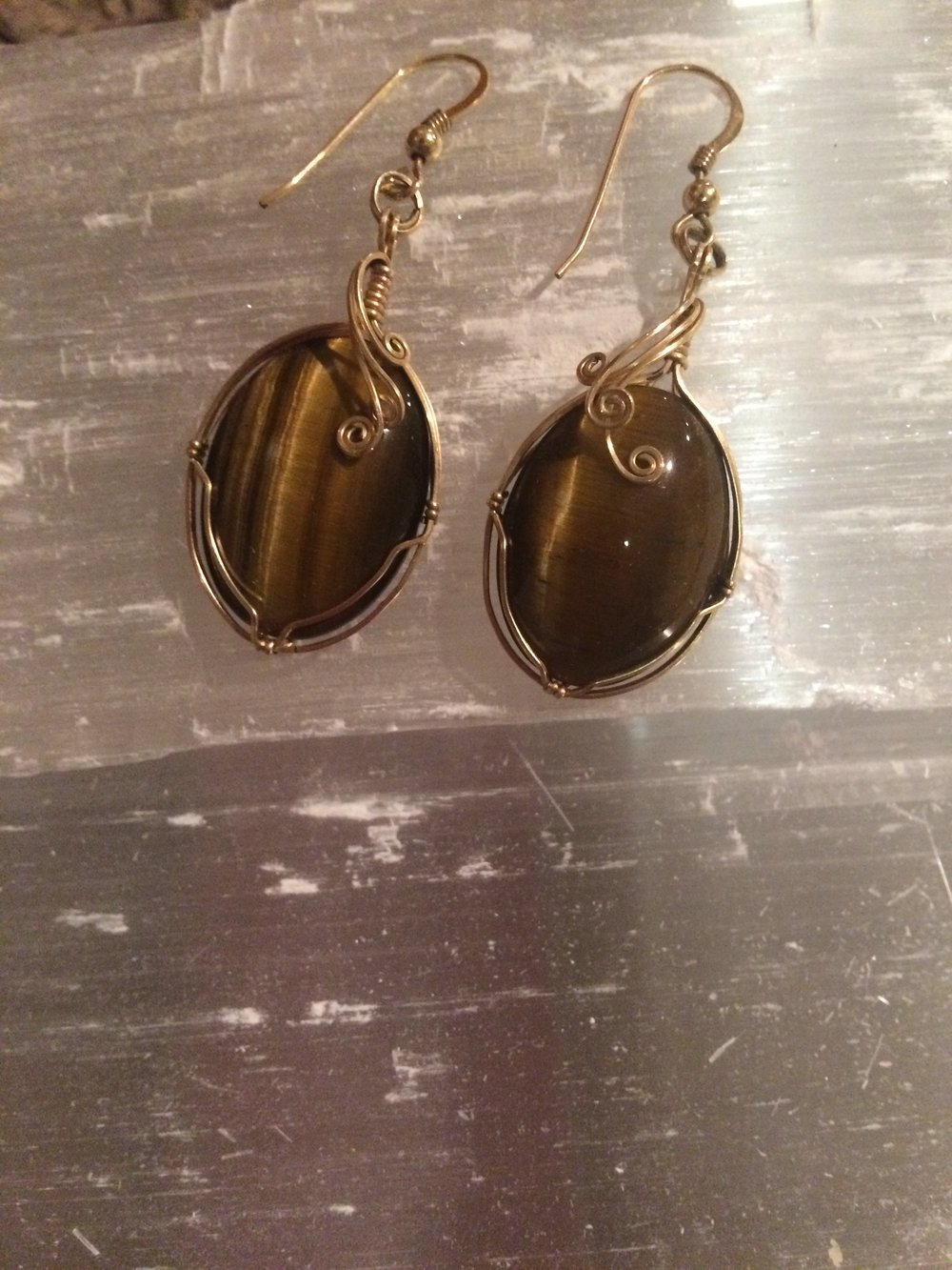 Tiger Eye Earrings SQ107 2x1 $45.00