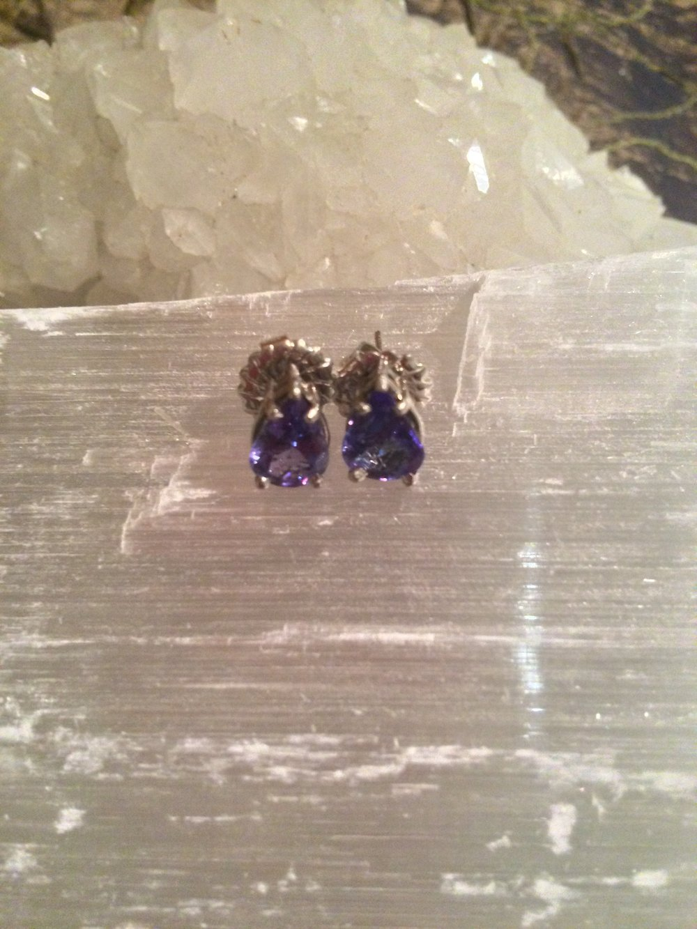 Tanzanite Earrings from Tanzania SQ109 .5x.5 $750.00