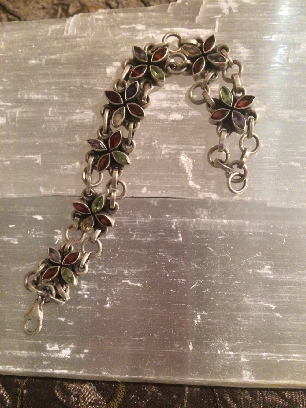 Sterling Silver Garnet, Citrine, Peridot, and Amethyst Bracelet from Indonesia SQ112 7x.5 $175.00