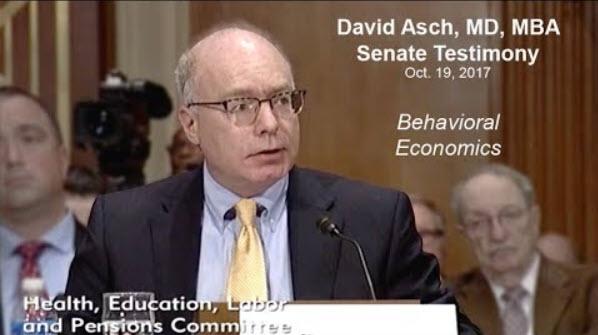 VAL Health's Dr. David Asch Testifies Before Senate - Penn LDI News, October, 2017