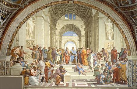 Raphael,School of Athens (1509-1511). Fresco,500 cm ×770 cm (200 in ×300 in). APOSTOLIC PALACE, vatican City.