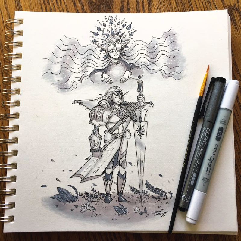 Elven Paladin and Goddess Sketch
