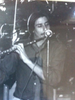 Marc playing a gig at the New Varsity Theater. Palo Alto, California. 1983.
