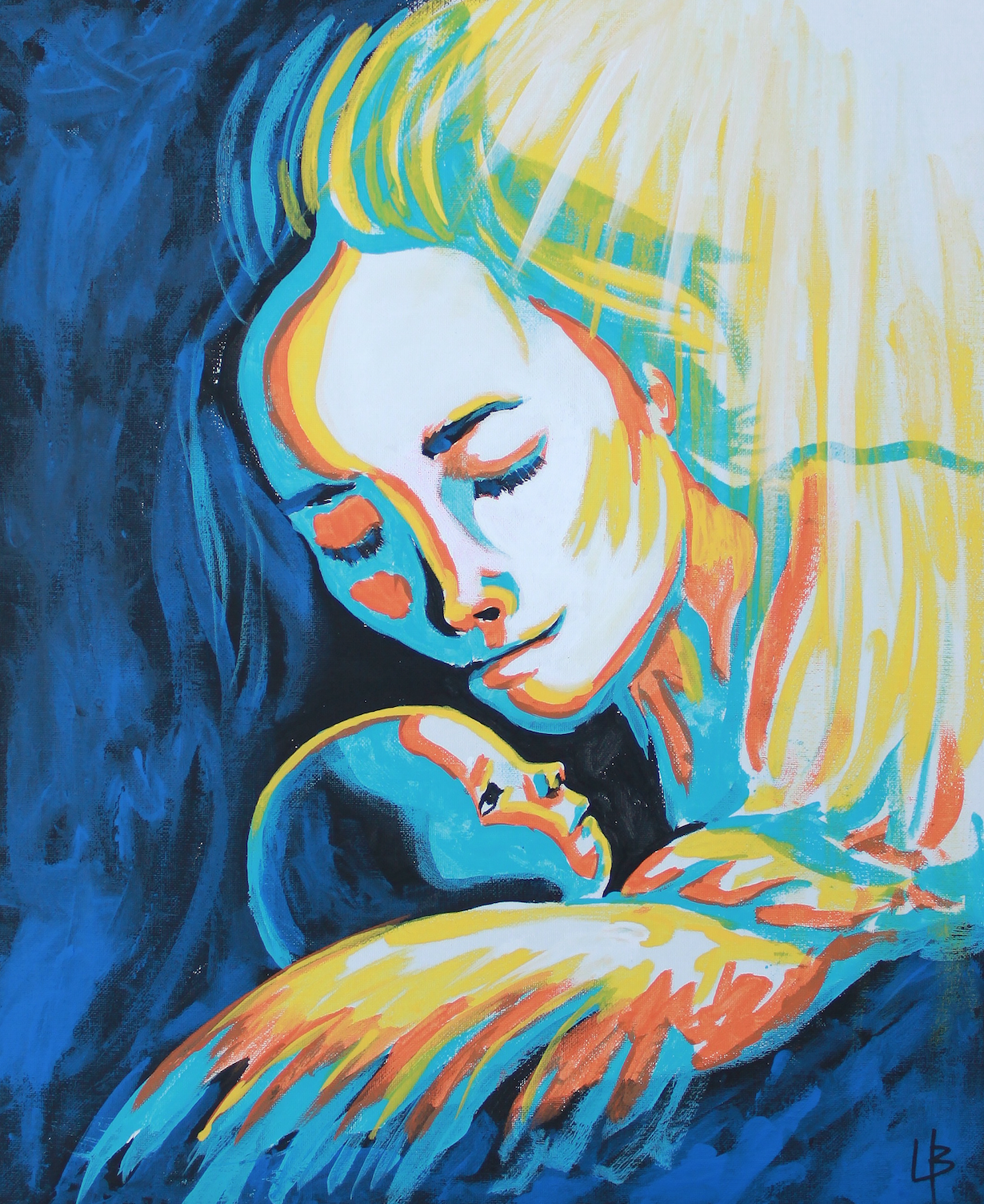 mary and baby jesus painting painted christ