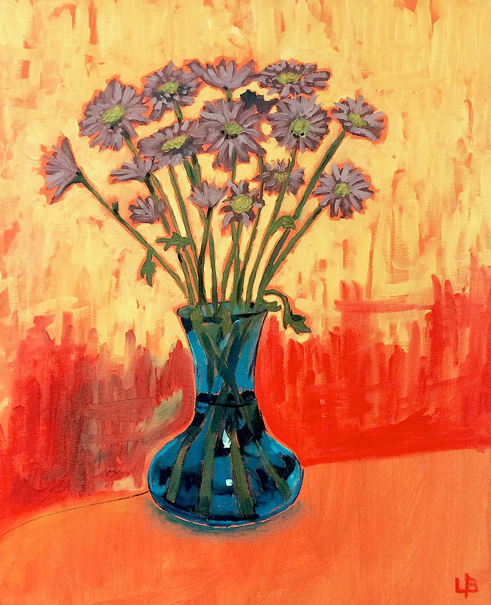 Daisies blue vase