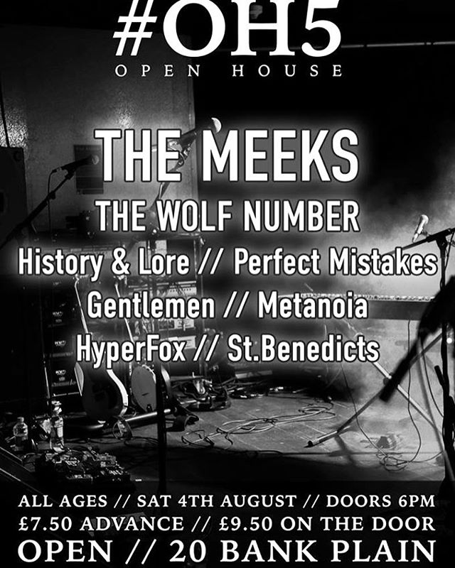 We are playing this show on Saturday night. @opennorwich  gonna be a blast ... come join us x #gig #norwichcity #livemusic #postrock #postrockband #localbands #8bandsforlessthanatenner #thewolfnumber