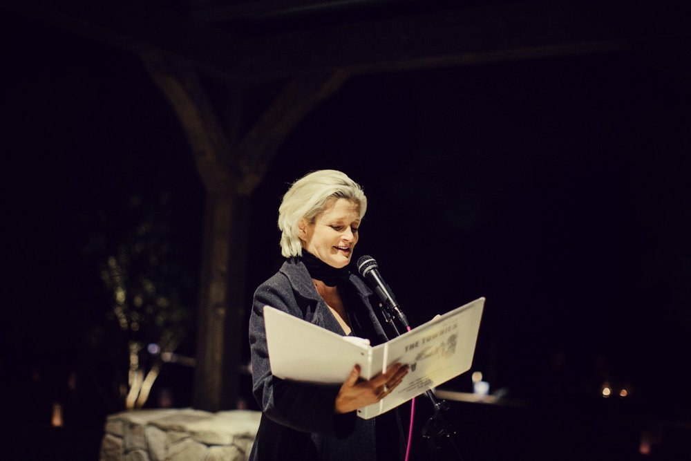 Kim Maxwell of Kim Maxwell Studio introducing The Townies podcast to the patrons of Topa Mountain Winery at the launch party on March 4, 2017. Photo by Brandi Ajah.