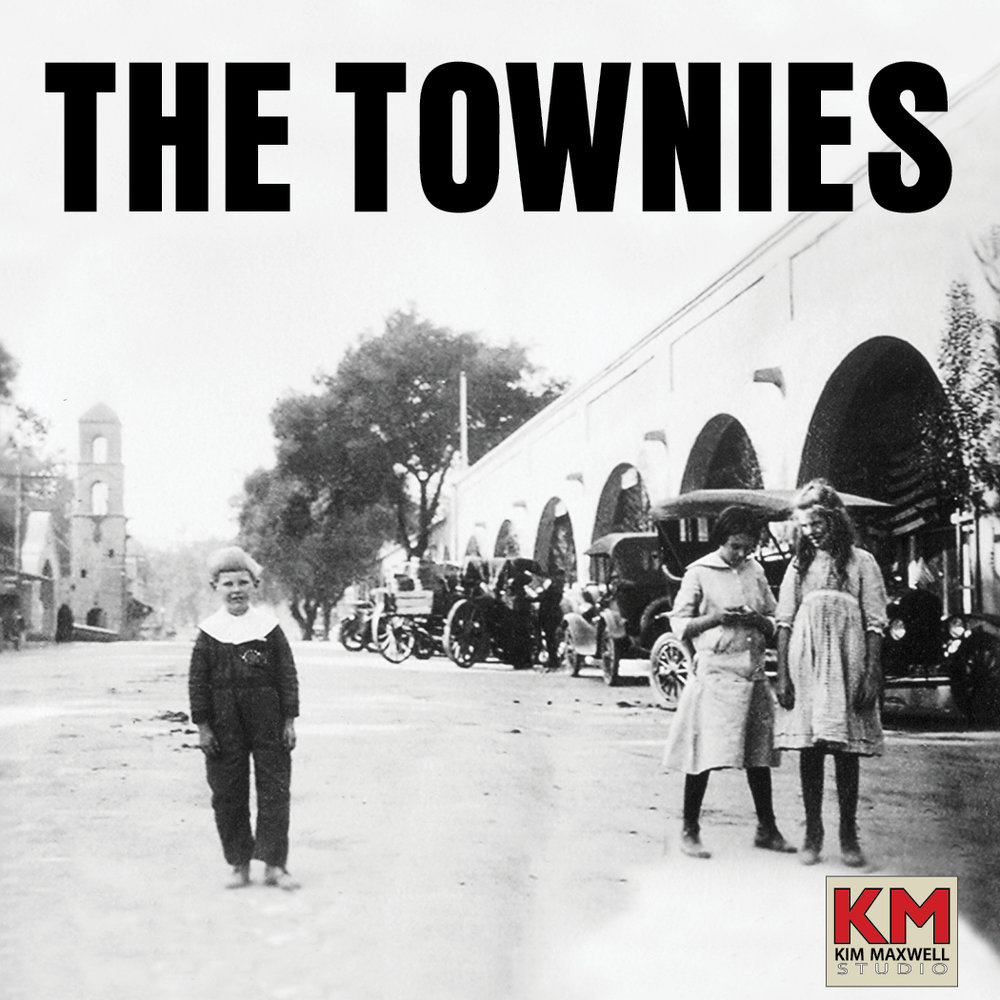 "The Townies Podcast logo: ""Uncle Rusty,"" Dilly Thacher & Ellie Barnes, c. Downtown Ojai 1917, Louisa ""Weezy"" Hagen Family Archive."