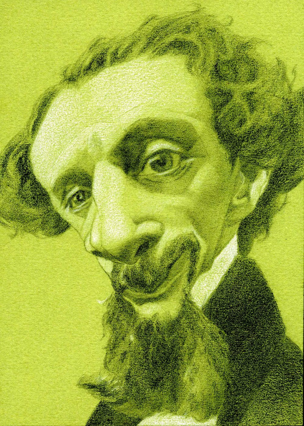 Charles Dickens , 2017  Pencil on paper  5 x 7 inches