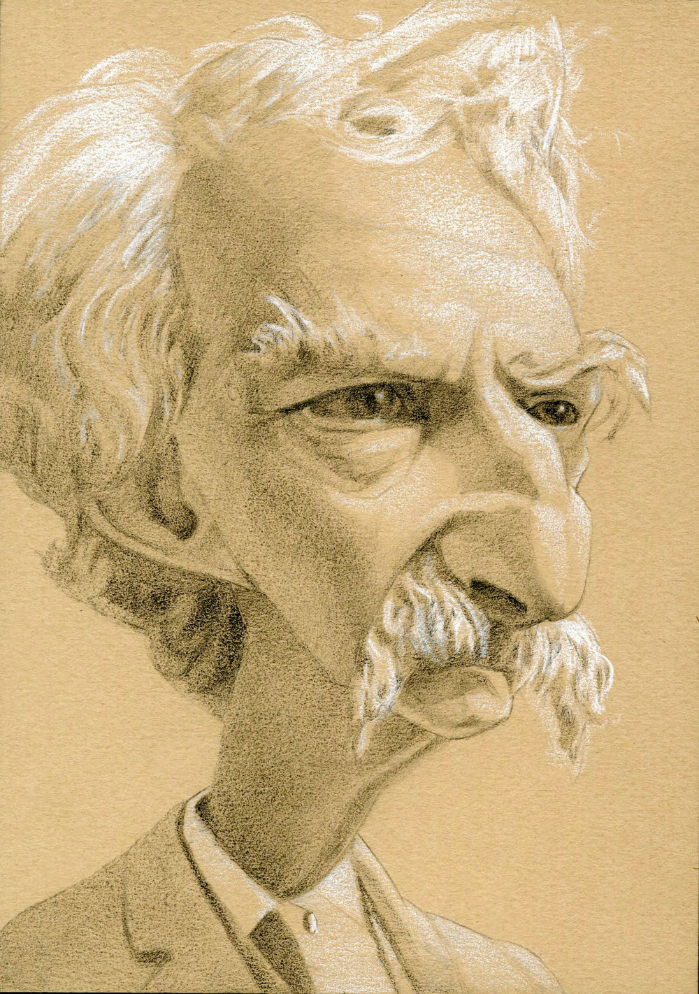Mark Twain,  2017  Pencil on paper  5 x 7 inches