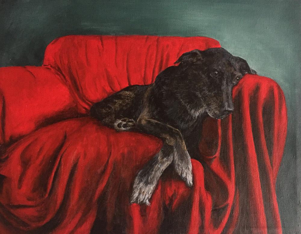 "Original portrait of Xena. 11""x14"" acrylic on canvas"