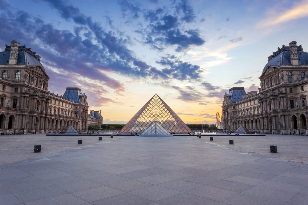 Sunset over the Louvre Pyramid, Paris, France