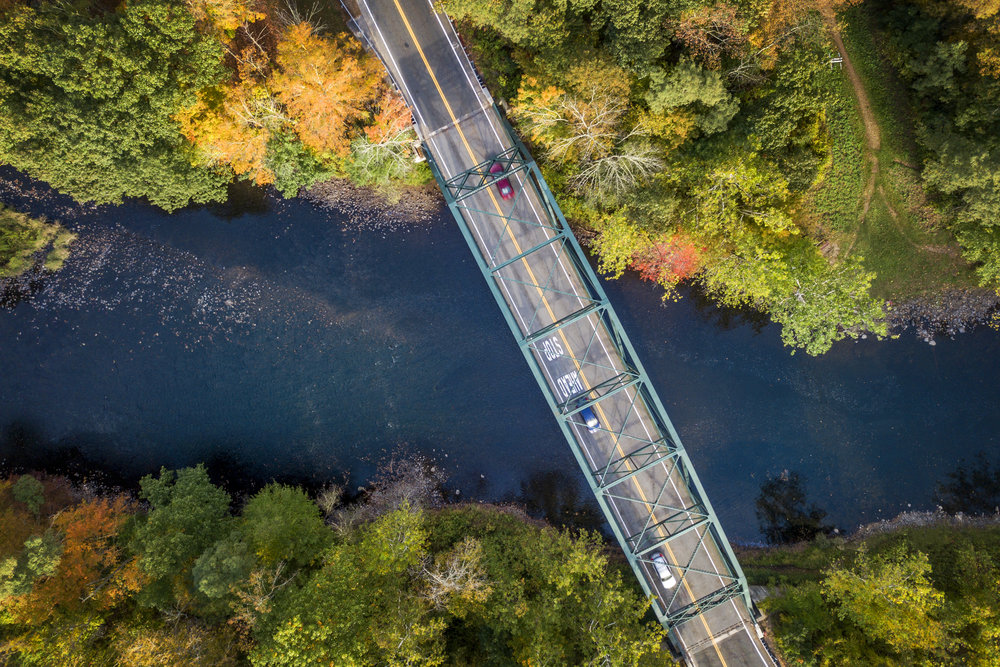 A bridge viewed from a drone