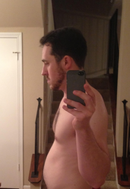 """This is my """"before"""" picture I took when I got serious about getting back in shape. And the last picture of me shirtless, I promise."""