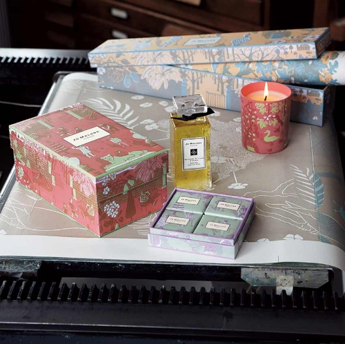 Her collaboration with luxury perfumers, Jo Malone, a pattern called Summer Afternoon.