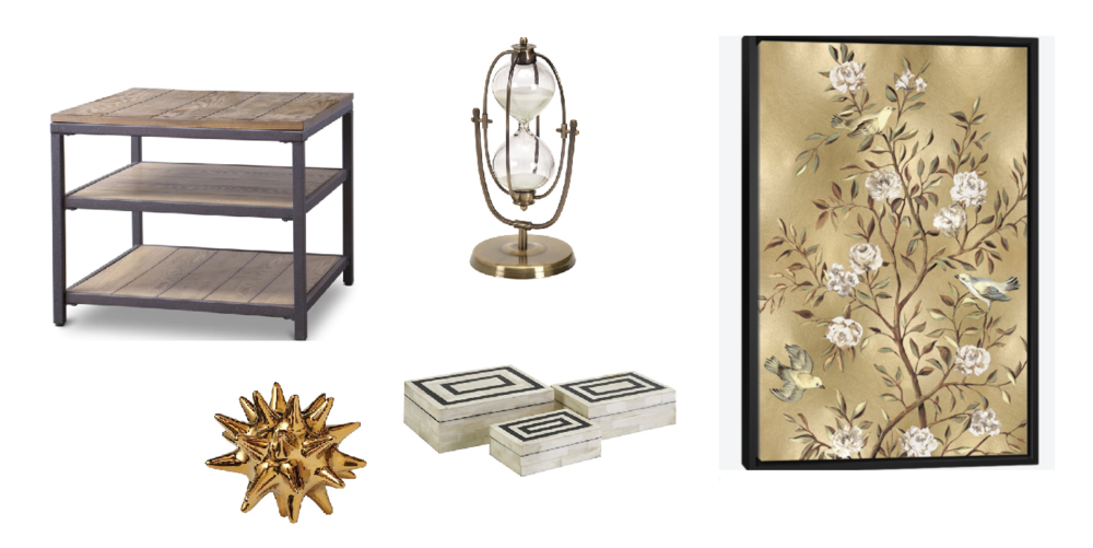table /  gold sea urchin / inlay boxes /  hourglass / chinoiserie panel