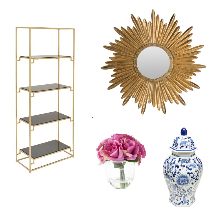 etagere /  sunburst mirror / ginger jar
