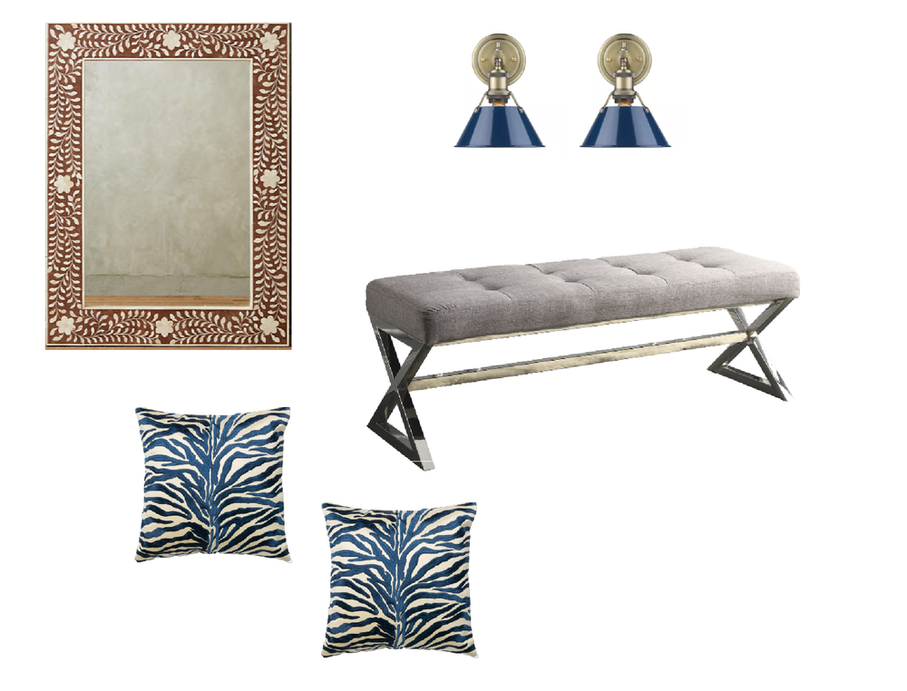 with a tufted bench, zebra print pillows and navy scones.