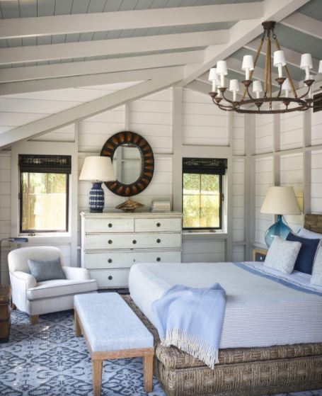 A serene guest room in a 19th century farmhouse,  elledecor